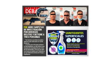 Photo of FGE ABRE CARPETAS DE INVESTIGACIÓN POR DIVERSOS DELITOS Y DETIENE A TRES PERSONAS